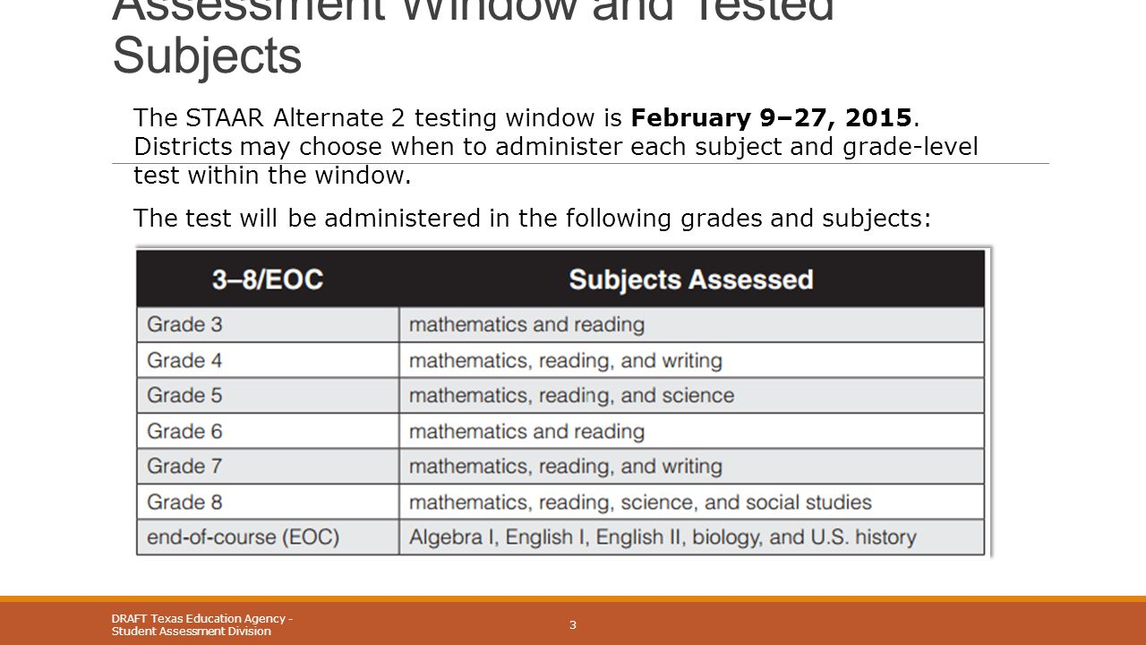 Assessment Window and Tested Subjects DRAFT Texas Education Agency - Student Assessment Division 3 The STAAR Alternate 2 testing window is February 9–