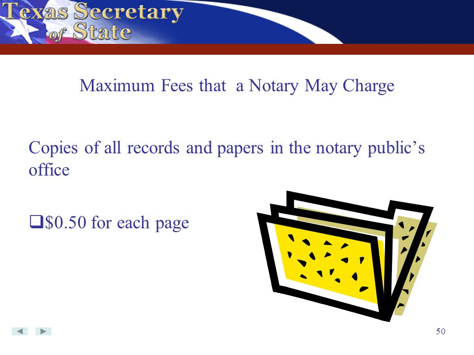 50 Copies of all records and papers in the notary public's office  $0.50 for each page Maximum Fees that a Notary May Charge
