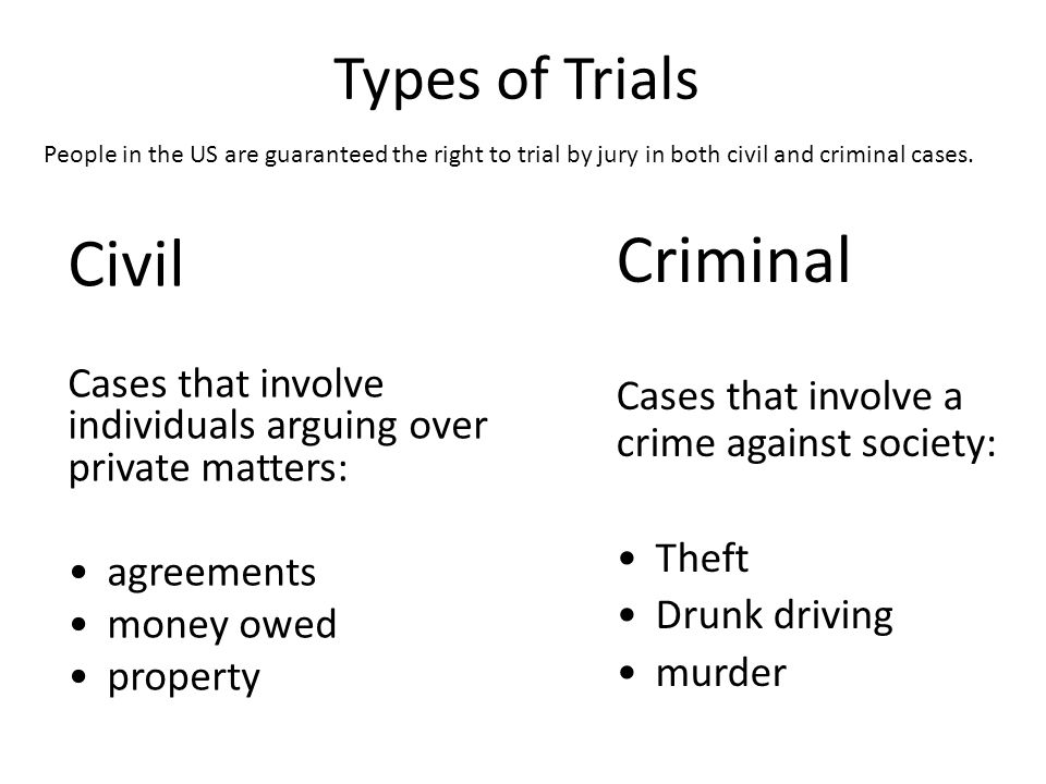 Types of Trials Civil Cases that involve individuals arguing over private matters: agreements money owed property Criminal Cases that involve a crime against society: Theft Drunk driving murder People in the US are guaranteed the right to trial by jury in both civil and criminal cases.