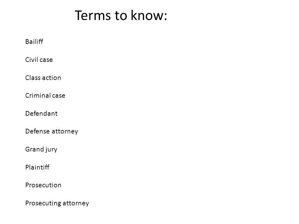 Bailiff Civil case Class action Criminal case Defendant Defense attorney Grand jury Plaintiff Prosecution Prosecuting attorney Terms to know: