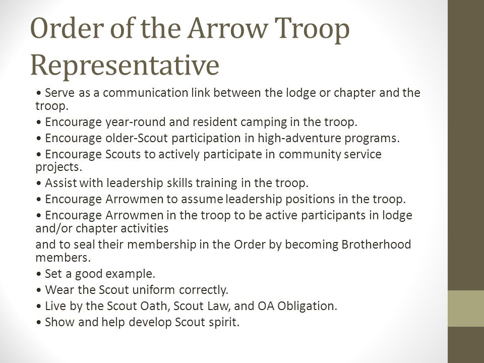 Order of the Arrow Troop Representative Serve as a communication link between the lodge or chapter and the troop. Encourage year-round and resident ca