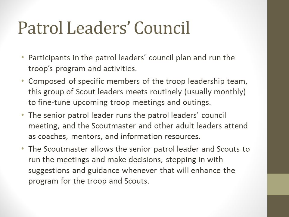 Patrol Leaders' Council Participants in the patrol leaders' council plan and run the troop's program and activities. Composed of specific members of t