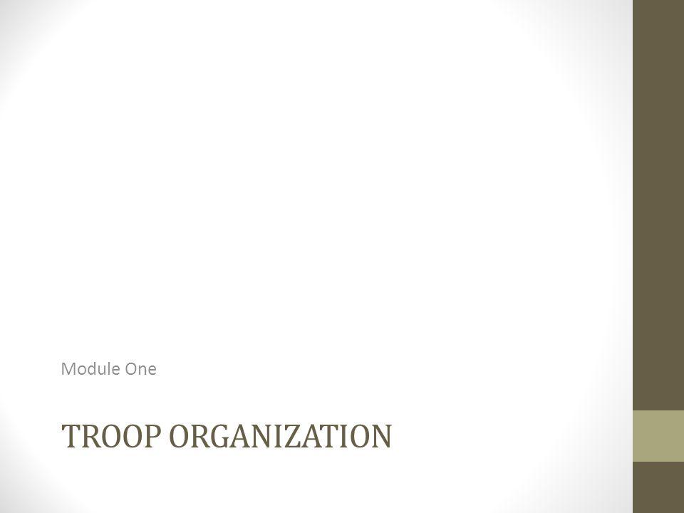 TROOP ORGANIZATION Module One