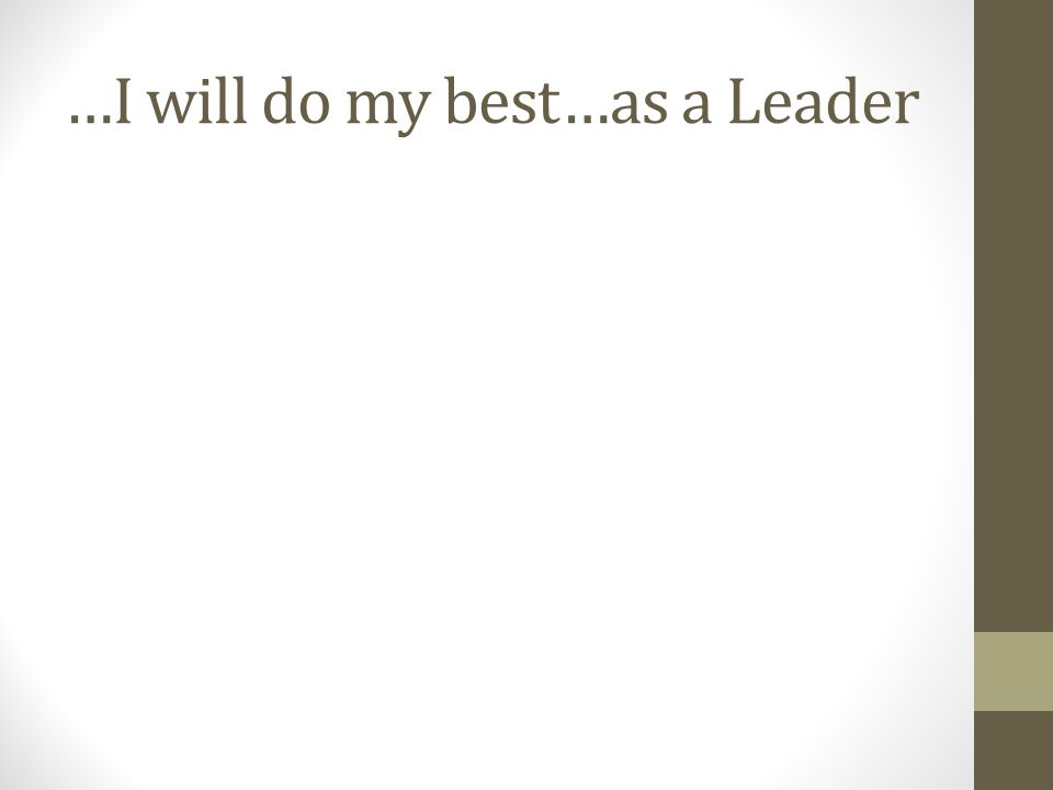 …I will do my best…as a Leader