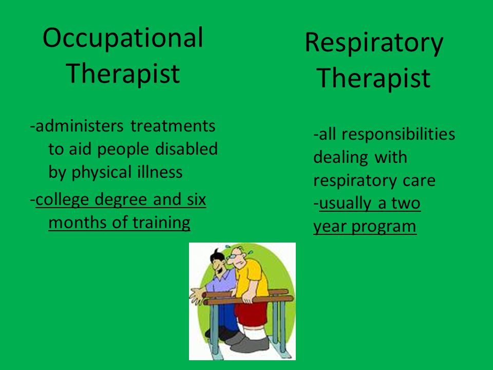 Occupational Therapist -administers treatments to aid people disabled by physical illness -college degree and six months of training Respiratory Therapist -all responsibilities dealing with respiratory care -usually a two year program