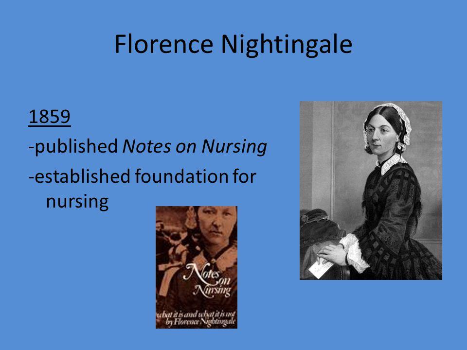 Florence Nightingale 1859 -published Notes on Nursing -established foundation for nursing