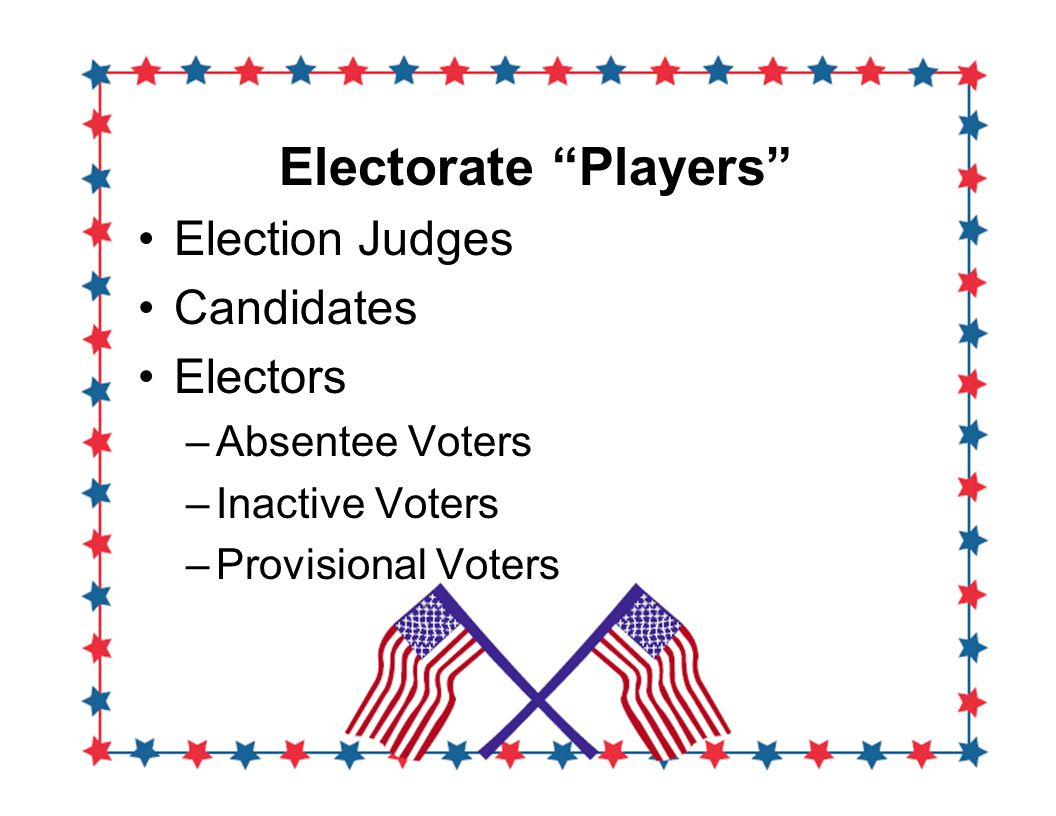 Electorate Players Election Judges Candidates Electors –Absentee Voters –Inactive Voters –Provisional Voters