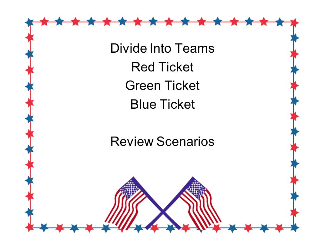 Divide Into Teams Red Ticket Green Ticket Blue Ticket Review Scenarios