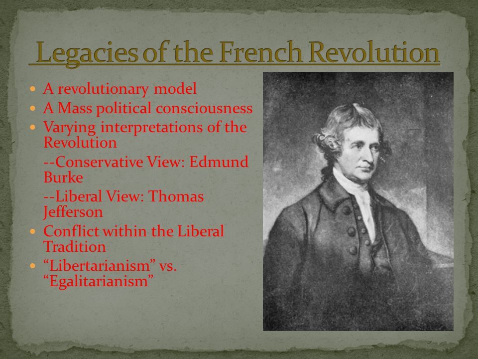 A revolutionary model A Mass political consciousness Varying interpretations of the Revolution --Conservative View: Edmund Burke --Liberal View: Thoma