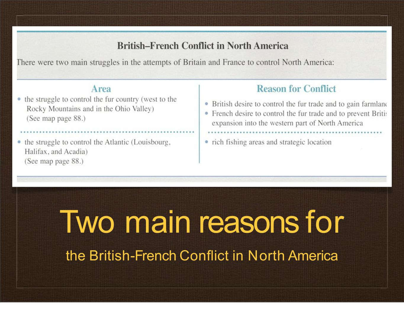 Twomainreasonsfor the British-French Conflict in North America