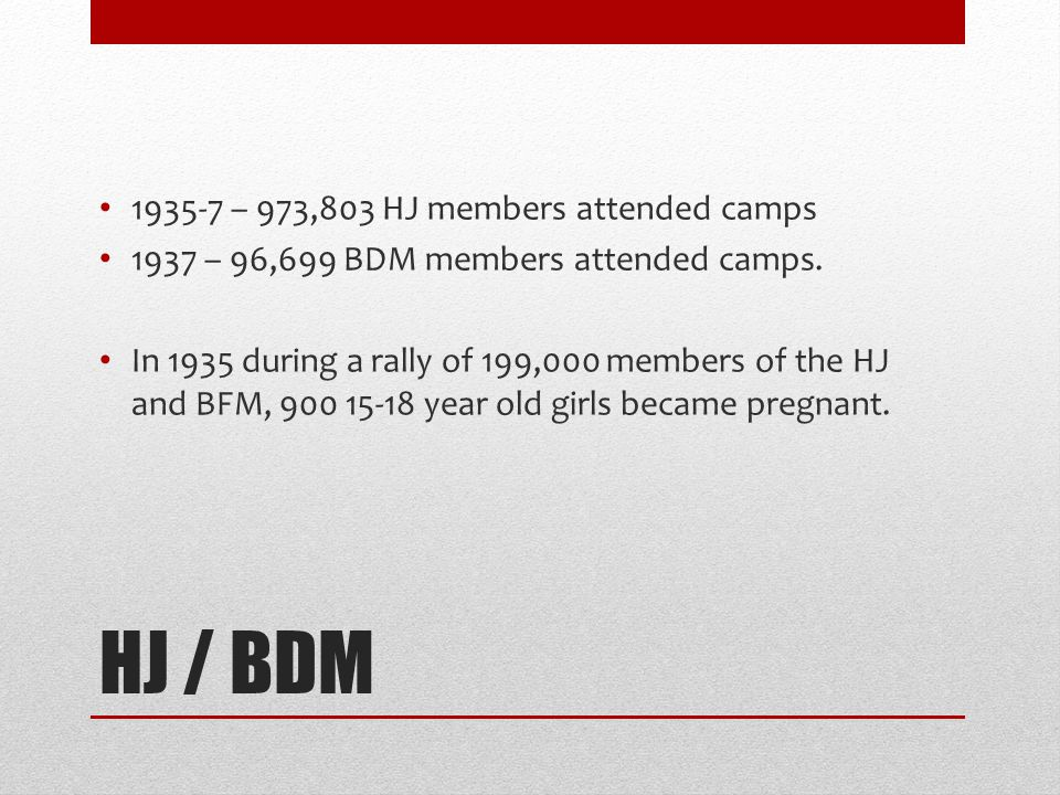 HJ / BDM 1935-7 – 973,803 HJ members attended camps 1937 – 96,699 BDM members attended camps. In 1935 during a rally of 199,000 members of the HJ and