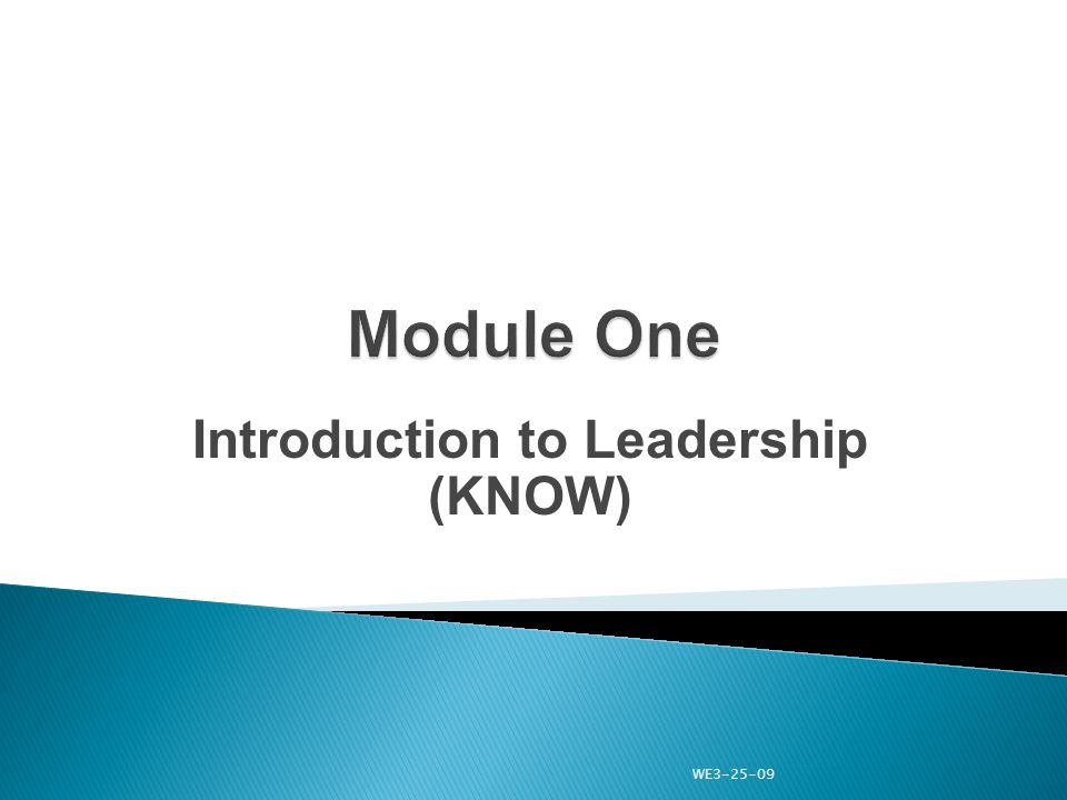 Introduction to Leadership (KNOW) WE