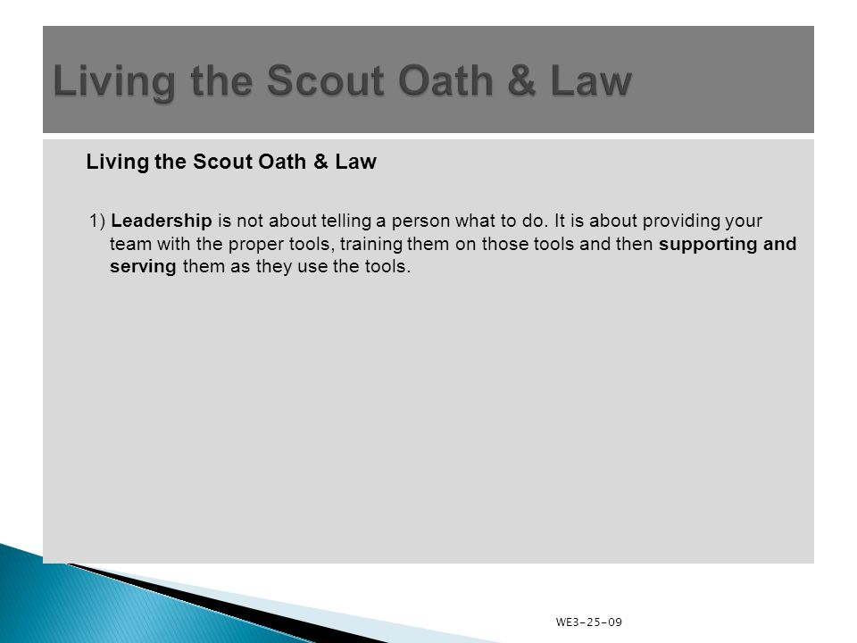 Living the Scout Oath & Law 1) Leadership is not about telling a person what to do.
