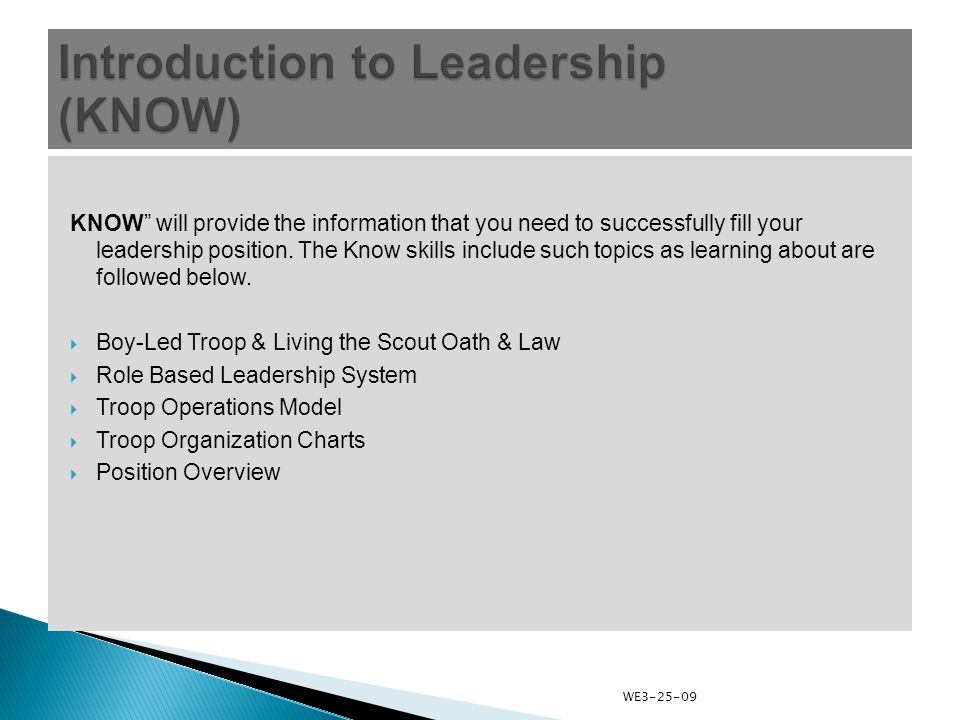 KNOW will provide the information that you need to successfully fill your leadership position.