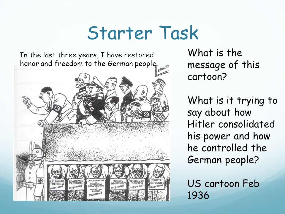 Starter Task In the last three years, I have restored honor and freedom to the German people.