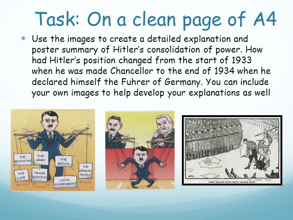 Task: On a clean page of A4 Use the images to create a detailed explanation and poster summary of Hitler's consolidation of power.