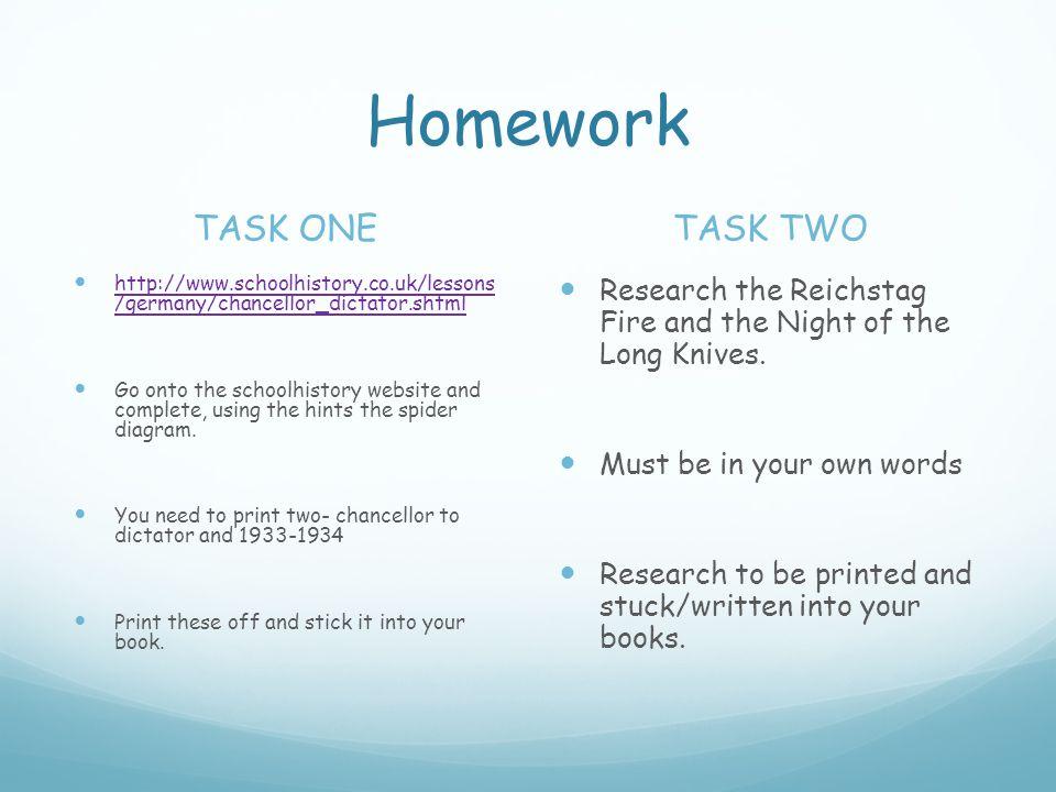 Homework TASK ONE http://www.schoolhistory.co.uk/lessons /germany/chancellor_dictator.shtml http://www.schoolhistory.co.uk/lessons /germany/chancellor