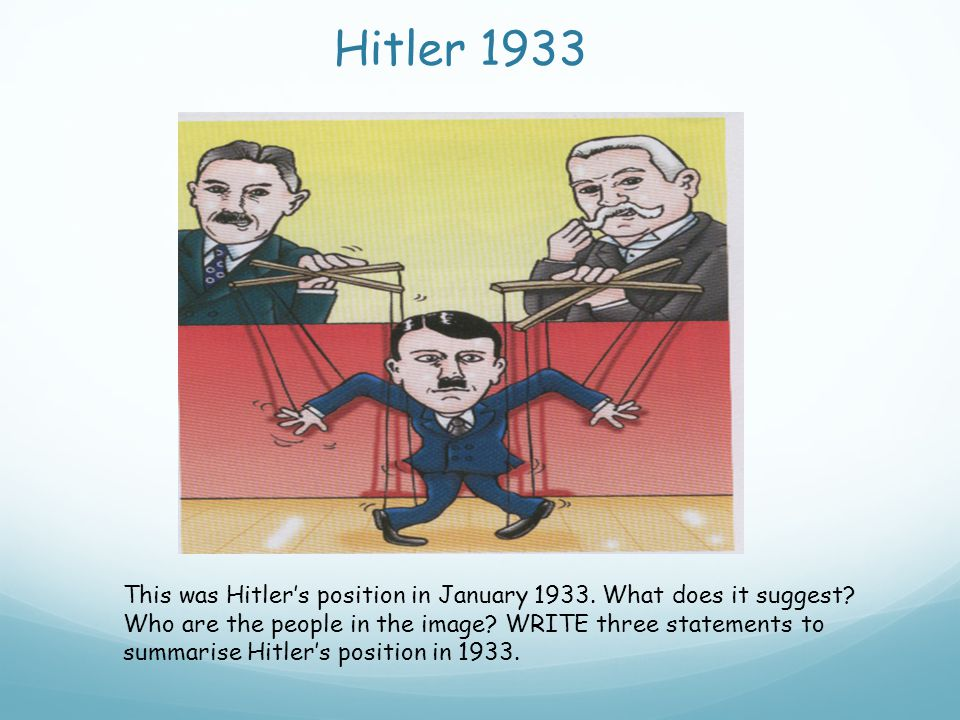 Hitler 1933 This was Hitler's position in January 1933. What does it suggest? Who are the people in the image? WRITE three statements to summarise Hit