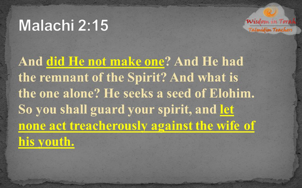 And did He not make one? And He had the remnant of the Spirit? And what is the one alone? He seeks a seed of Elohim. So you shall guard your spirit, a