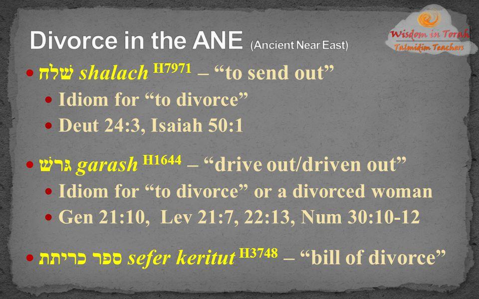 """שׁלח shalach H7971 – """"to send out"""" Idiom for """"to divorce"""" Deut 24:3, Isaiah 50:1 גּרשׁ garash H1644 – """"drive out/driven out"""" Idiom for """"to divorce"""" or"""