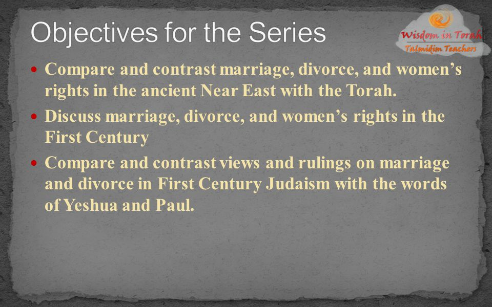 Marriage as a Covenant by Gordon Hugenberger Garden of Peace by Rabbi Shalom Arush Flame of Yahweh by Richard Davidson Divorce and Remarriage in the Bible by David Instone- Brewer The Marriage Covenant by Derek Prince Marriage as Covenant by John Tartwater Madam I'm Adam (audio) by Rabbi Daniel Lapin What God has Joined Together (audio) by Tim Hegg