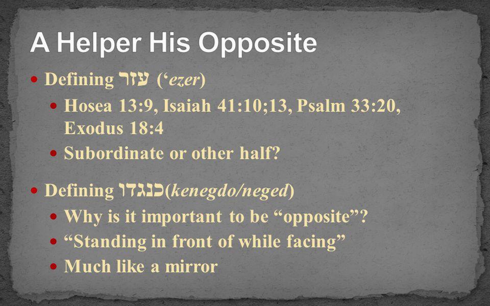 Defining עזר ('ezer) Hosea 13:9, Isaiah 41:10;13, Psalm 33:20, Exodus 18:4 Subordinate or other half? Defining כנגדו (kenegdo/neged) Why is it importa