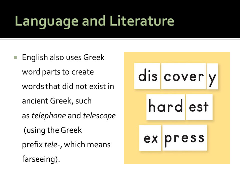  English also uses Greek word parts to create words that did not exist in ancient Greek, such as telephone and telescope (using the Greek prefix tele