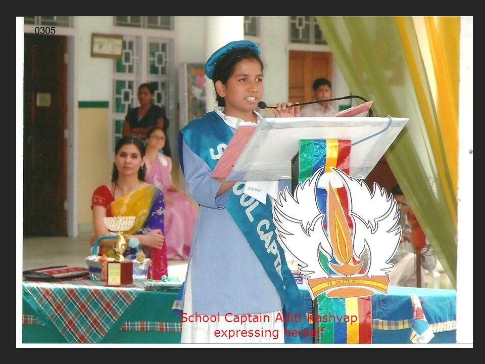 School Captain Aditi Kashyap expressing herself