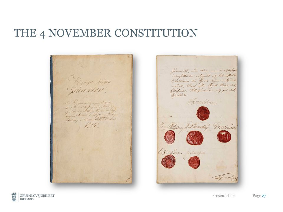 THE 4 NOVEMBER CONSTITUTION Presentation Page 27
