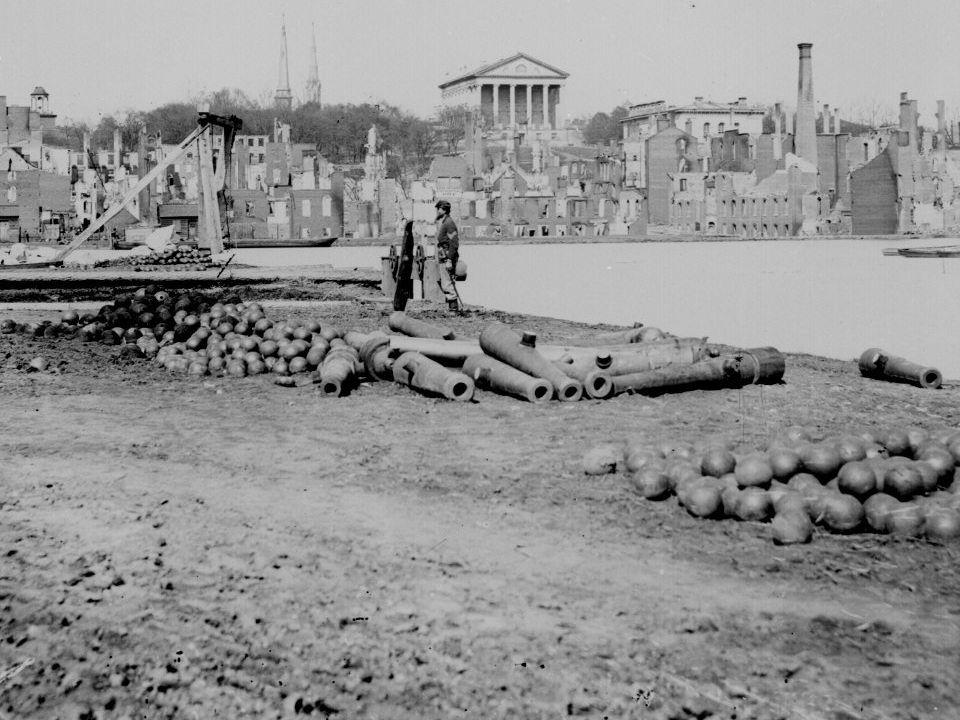 Guns and Ruined Buildings Near the Tredegar Iron Works - Richmond, VA, April 1865