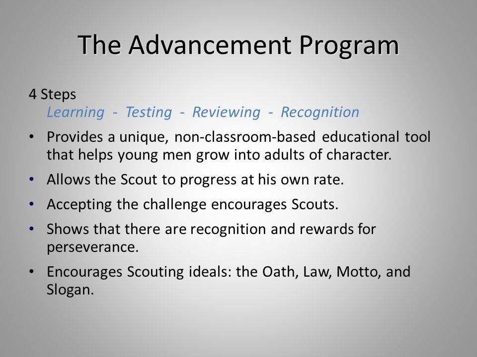 Tips for Merit Badge Counselors During the time you are working with the Scout on the Badge: Teach skills Scouts learn best by practicing, then teaching someone else Scout must do what is asked in the requirements: * make * list * collect * identify * label * in the field...* Expect no more, no less. If Scout wants to do more than is required, great.