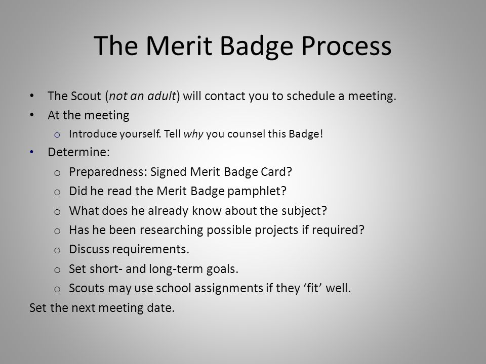 The Merit Badge Process The Scout (not an adult) will contact you to schedule a meeting. At the meeting o Introduce yourself. Tell why you counsel thi