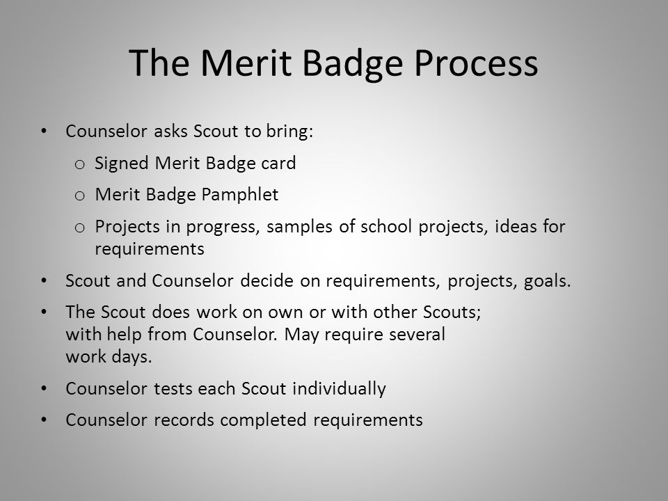 Special Needs Scouts Scout may do Alternate Eagle Required badges Application for Alternate Eagle Scout Award Merit Badges o Must have prior approval from council advancement committee Doctor's statement of disability must be submitted with application Alternates are ONLY for badges he cannot complete Record of Alternate Badges submitted with Eagle Application
