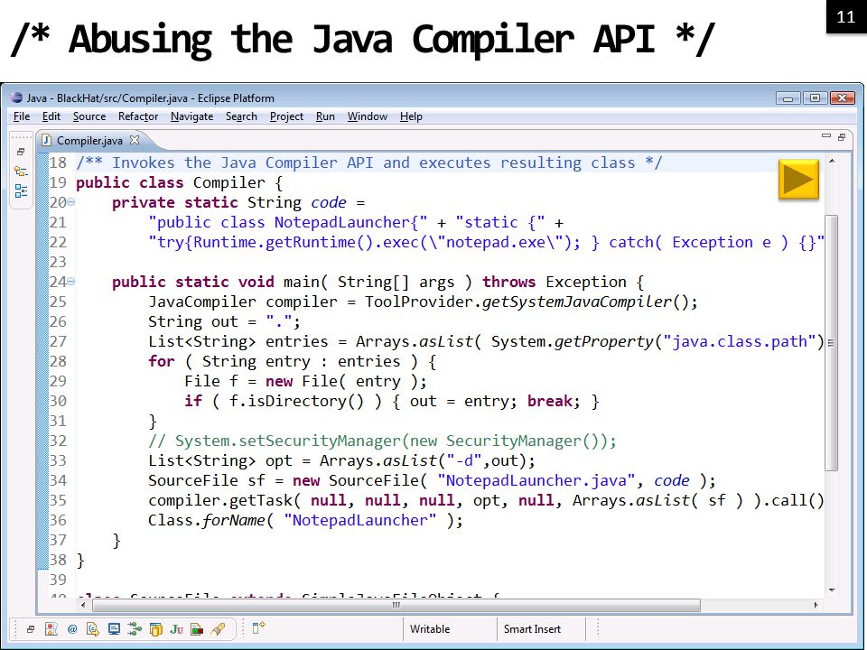 11 /* Abusing the Java Compiler API */