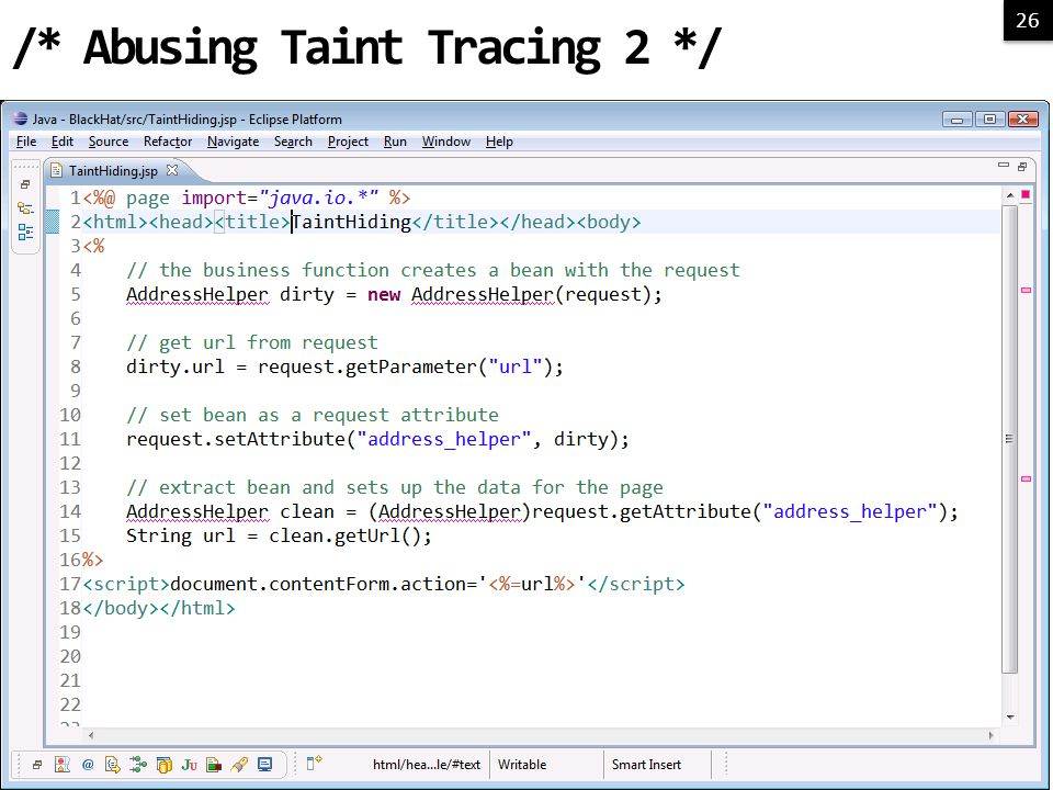 26 /* Abusing Taint Tracing 2 */