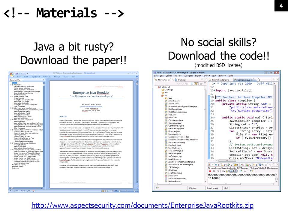 4 4 Java a bit rusty. Download the paper!. No social skills.