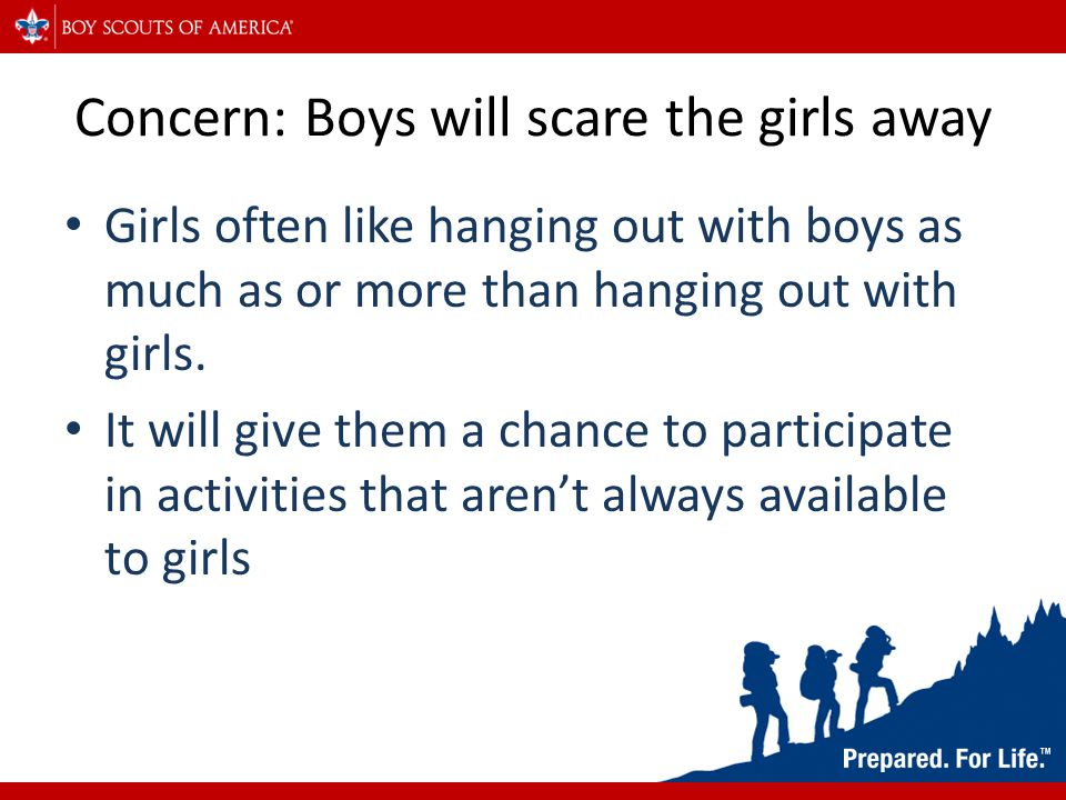 Concern: Girls will cause competition for leadership positions Having more people to compete with for leadership positions will cause both sexes to work harder as leaders Both will give each other insight they might not have had otherwise