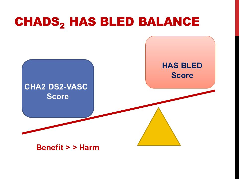 CHADS 2 HAS BLED BALANCE CHA2 DS2-VASC Score HAS BLED Score Benefit > > Harm