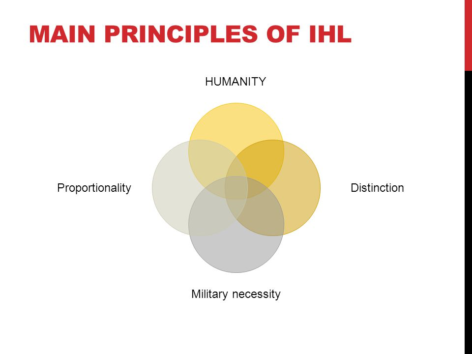 MAIN PRINCIPLES OF IHL HUMANITY Distinction Military necessity Proportionality