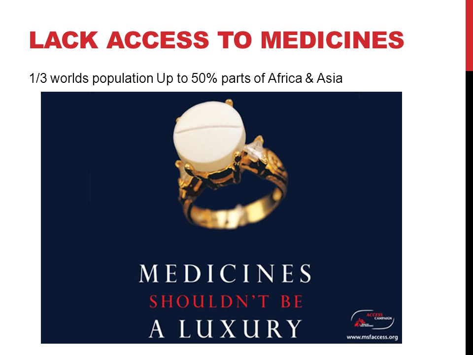 LACK ACCESS TO MEDICINES 1/3 worlds population Up to 50% parts of Africa & Asia