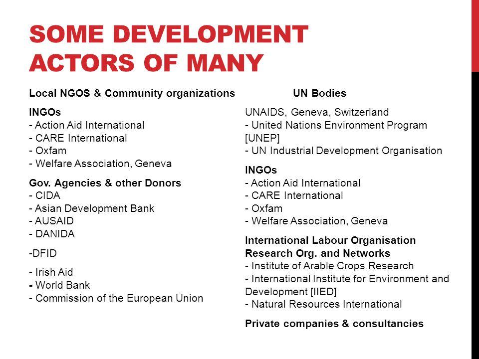 SOME DEVELOPMENT ACTORS OF MANY Local NGOS & Community organizations INGOs - Action Aid International - CARE International - Oxfam - Welfare Association, Geneva Gov.
