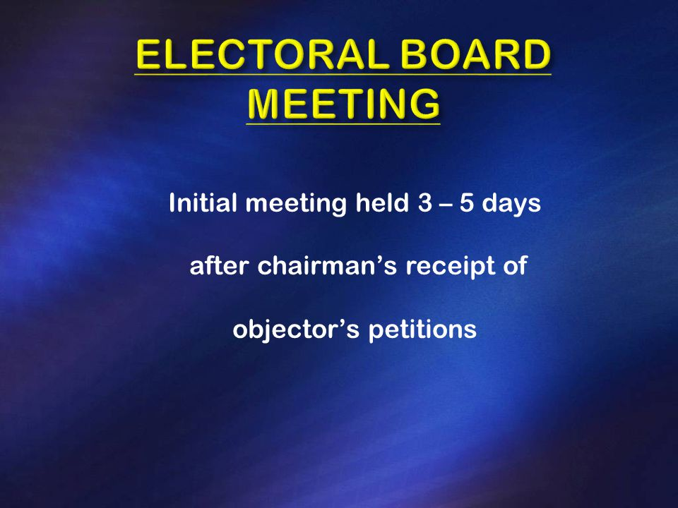 Initial meeting held 3 – 5 days after chairman's receipt of objector's petitions
