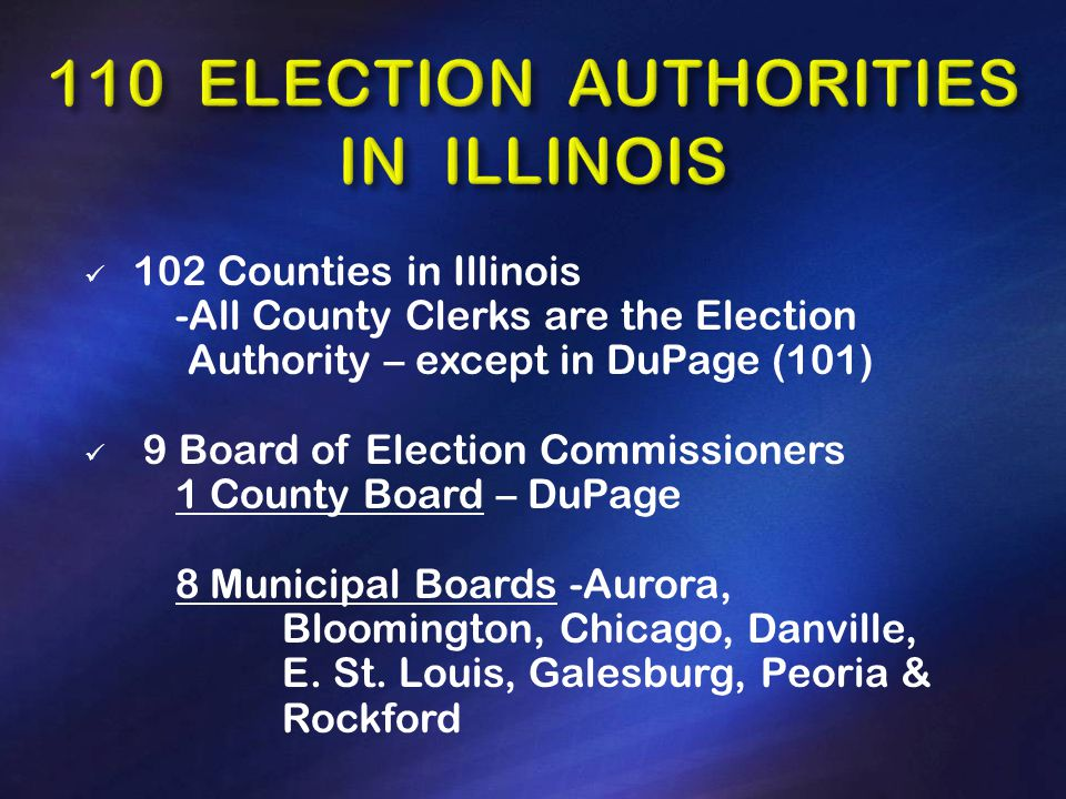 102 Counties in Illinois -All County Clerks are the Election Authority – except in DuPage (101) 9 Board of Election Commissioners 1 County Board – DuPage 8 Municipal Boards -Aurora, Bloomington, Chicago, Danville, E.