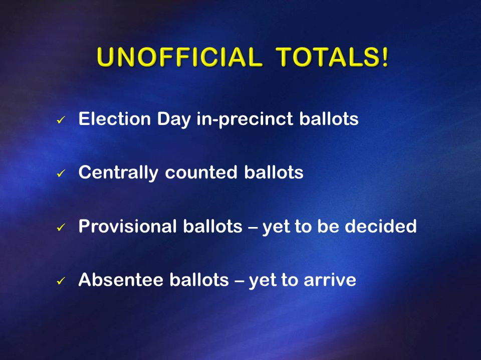 Election Day in-precinct ballots Centrally counted ballots Provisional ballots – yet to be decided Absentee ballots – yet to arrive