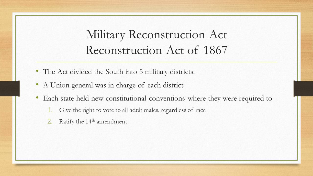 Impeachment In order to restrict Johnson's power to refuse to enforce the Act, Congress took harsh action against the President Congress passed the Army Act & Tenure of Office Act.