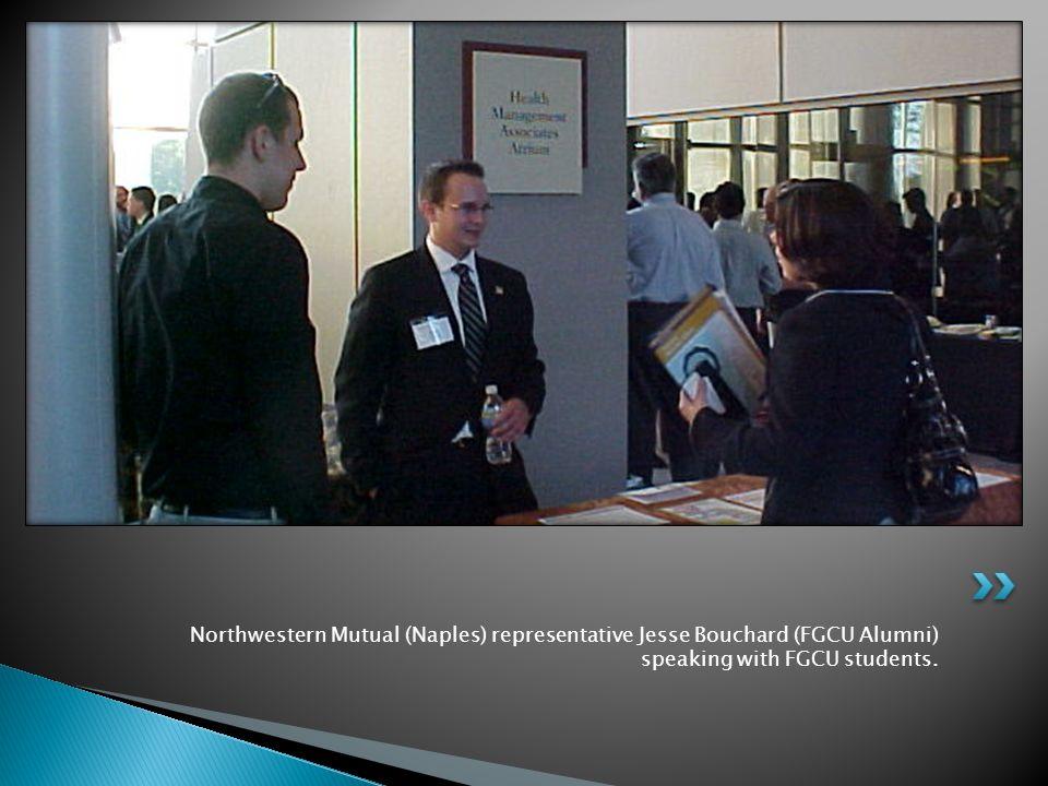 Northwestern Mutual (Naples) representative Jesse Bouchard (FGCU Alumni) speaking with FGCU students.