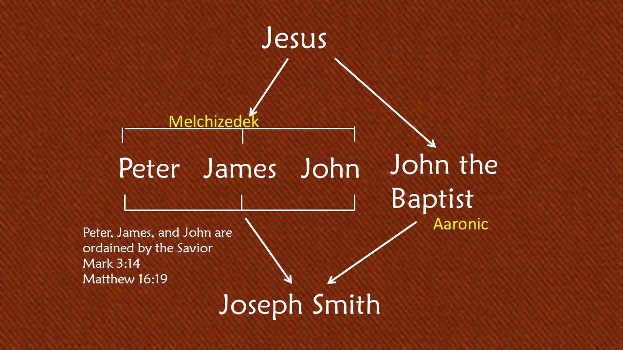 D&C 84:17 Jesus PeterJames Joseph Smith John the Baptist John Peter, James, and John are ordained by the Savior Mark 3:14 Matthew 16:19 Melchizedek Aaronic