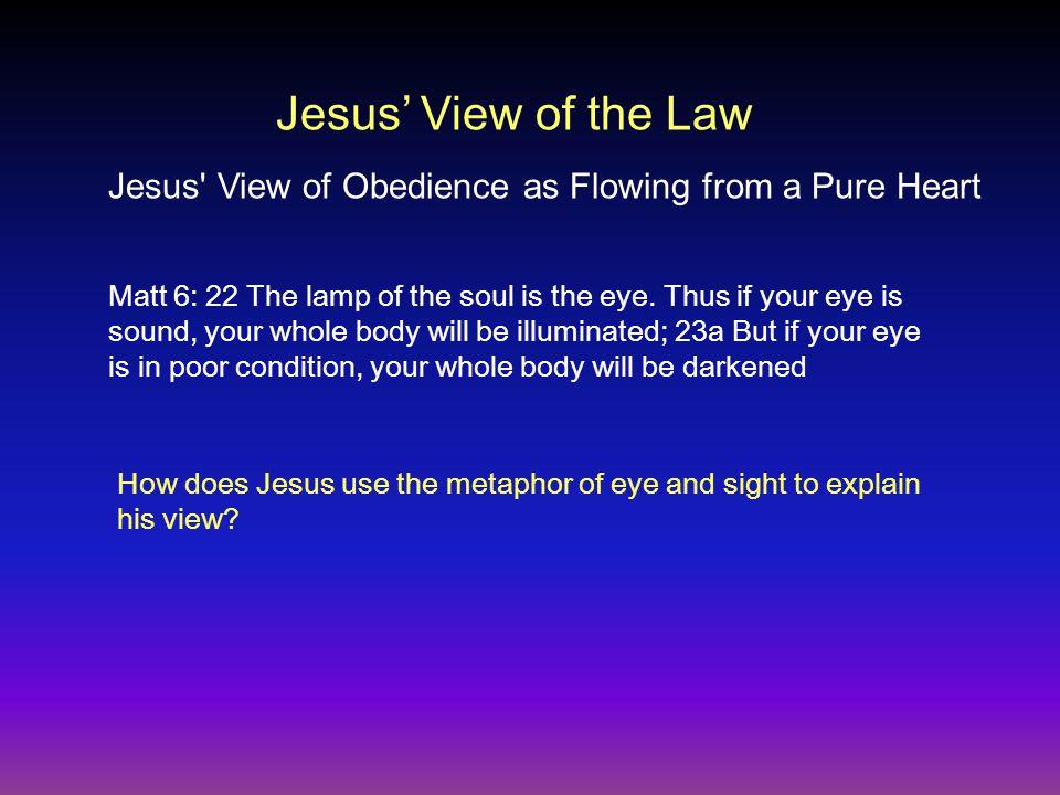 Matt 6: 22 The lamp of the soul is the eye.
