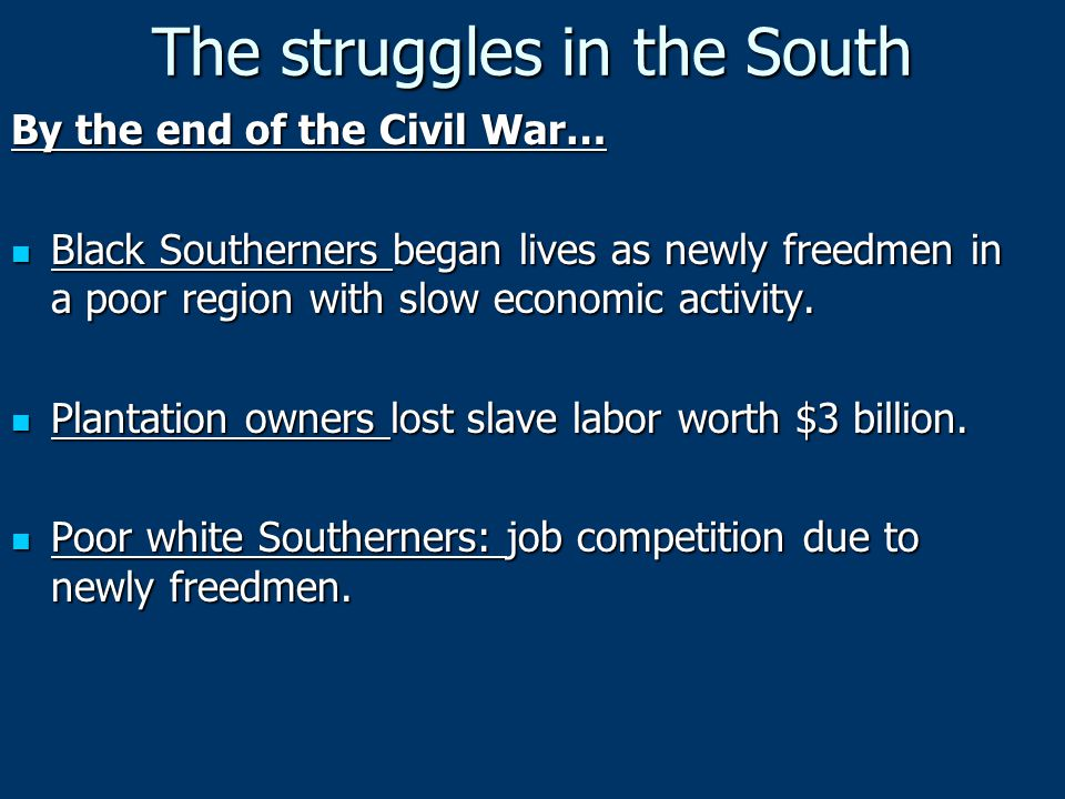 Compromise of 1877 Remove remaining federal troops from South Remove remaining federal troops from South Support appropriations for building levees along Mississippi River and give huge subsidies to railrd Support appropriations for building levees along Mississippi River and give huge subsidies to railrd Marked the end of Reconstruction, giving Democrats control of Southern politics Marked the end of Reconstruction, giving Democrats control of Southern politics
